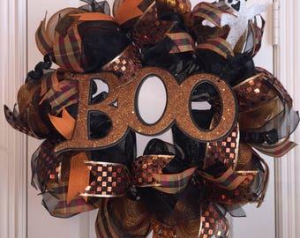Boo Wreath,Halloween Wreath,Deco Mesh Wreath,Front Door Wreath,Boo Door Hanger,Wreath,Halloween Door Decor,Halloween Wreath for Front Door
