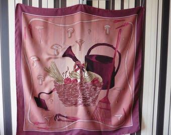 Gorgeous Vintage MARJA KURKI Scarve/Silk Scarve/Scarve With Still Life Print/100% Silk