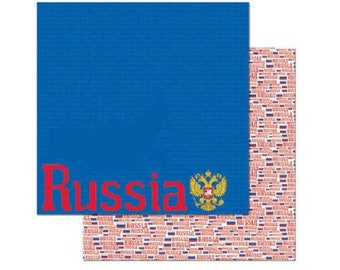 """Russia Set of 8 Custom Selected 12"""" x 12"""" Scrapbook Papers Russian Themed Travel Vacation Papers - Our Favorites"""