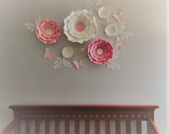 Paper flowers wall decor. Large pink flowers wall decor. Nursery white flowers wall. Wedding flowers backdrop. Baby shower backdrop.