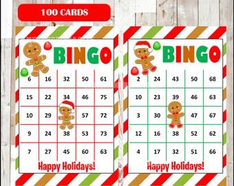 Printable 100 Christmas Bingo Cards; printable Gingerbread Bingo game, Christmas printable bingo cards instant download