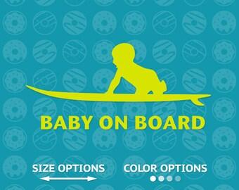 baby surfer, baby surfer decal, baby surfer vinyl, baby surfer sticker, baby on board, baby on board decal, on board sticker, on board vinyl