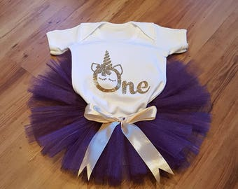 Girl's 1st birthday outfit / Unicorn birthday outfit / Tulle tutu and bodysuit / Tulle skirt / Purple and gold tutu