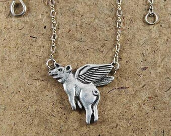 handmade happy flying pig  sterling silver necklace