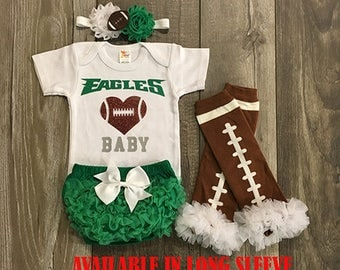 baby girl philadelphia eagles football - philadelphia eagles baby - eagles baby girl outfit - football leg warmers - eagles football baby