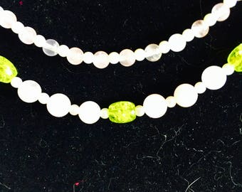 Beautiful Double strand Rose Quartz, Green Accent beads & tiny faux pearls, 22""
