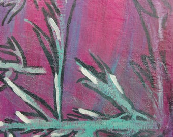 """Paint - """"MIST"""" - original modern acrylic painting and surreal with textures on canvas - shades of pink and purple"""