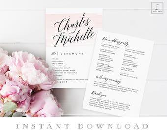 Wedding Fan Template, Order of Service, Program Fan Template, Ceremony Schedule, Ceremony Program, Wedding Program, Program Template #PWS