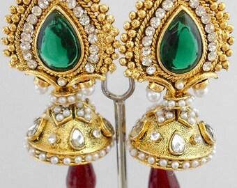 Indian Earrings, Bollywood Earrings, Indian Jewellery, Drop Earrings, Chandelier Earrings, Gold Earrings, Emerald Earrings, Ruby Earrings
