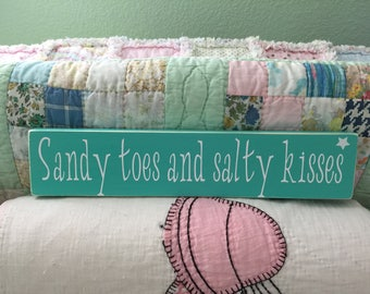 Sandy toes and salty kisses, Baby Gift, Nursery Decor, Wood Sign
