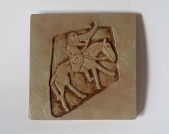 Handmade Plaster Tile: Bullion Stone Horseman