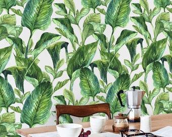 Removable Wallpaper, Tropical Wallpaper, Tropical, Wallpaper, Jungle, Leaves Wallpaper, Jungle Wall Decor, Jungle Wallcovering - A205