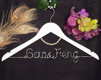 Personalized Wedding Hanger with Pearls, Bridal Hanger, Custom Wire Name Wedding Dress Hanger, Wedding Shower Gift, Bridesmaid Dress Hanger