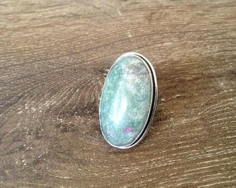 Ruby in Fuchsite Silver Ring