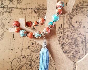 Spotty beaded tassel bracelet, gift for her, elastic bracelet, handmade jewellery, handmade bracelet, beaded bracelet, blue jewellery