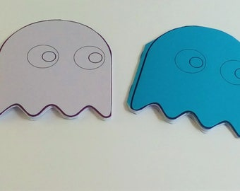 4 Pacman Notebooks with Orange, Blue and Purple Ghosts, 12  plain White pgs