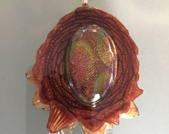 Natural wood third eye pine cone pendant