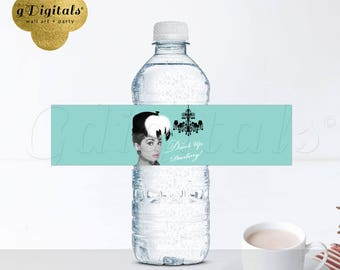 "Breakfast at Tiffany's water bottle labels, Audrey Hepburn sticker party supplies 8x2""/5 Per Sheet {Chandelier blue}"