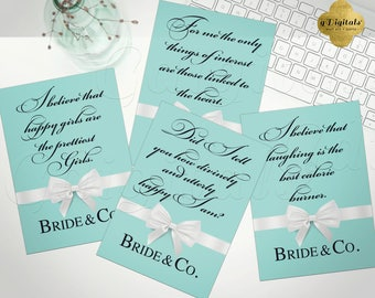 Breakfast at Tiffany's quotes, decorations, Audrey Hepburn printable quote signs happy girls quote. Set of 4 INSTANT DOWNLOAD