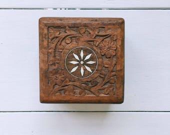 Vintage Carved Wooden Box - hinged lid, floral design