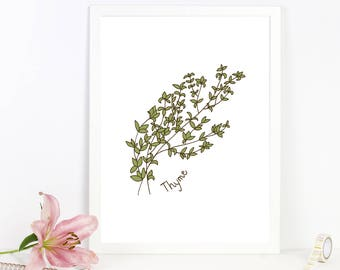 Home Decor for Her, Kitchen Print, Thyme, Wall Art
