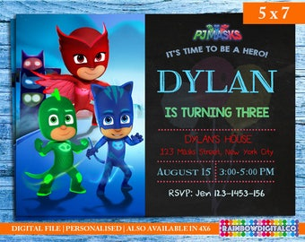 PJ Masks, Pj Masks Invitation, PJ masks birthday invitation, Pj masks party, PJ masks birthday, Birthday Printables, Pj Mask