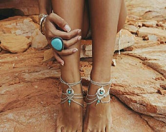Silver ankle bracelet with blue stone, turquoise, foot chain, hippie boho with stone, bikini, beach, ankle, etnic, love festival