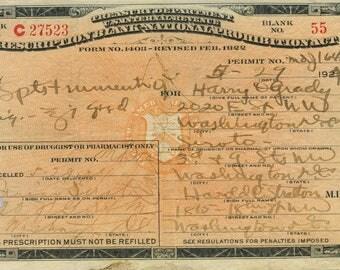 Whiskey Prohibition Prescription 1924