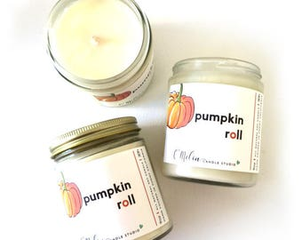 Pumpkin Roll Candle , Fall Candle, Gift Candle,  Gift for Friend,  Soy Candle , Handmade Candle,  Girlfriend Candle