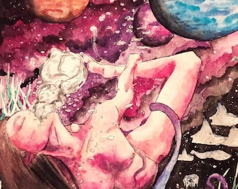 """psychedelic watercolor painting 8""""x12""""- """"Lucid"""""""