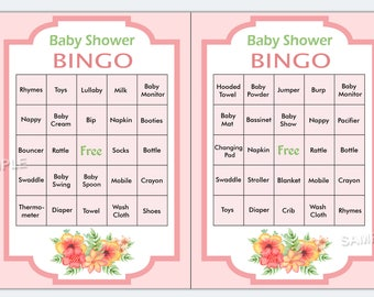 Floral baby shower bingo, flowers baby shower bingo, floral baby shower bingo cards , Printable Blank Bingo Cards and PreFilled Cards
