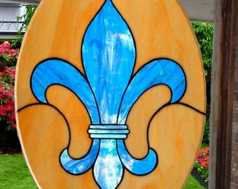 "Blue Fleur de Lis with Gold background, Suncathcer, 6.5"" x 9"", Glass"