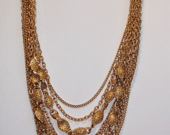 Fabulous vintage gold tone multi-chain necklace