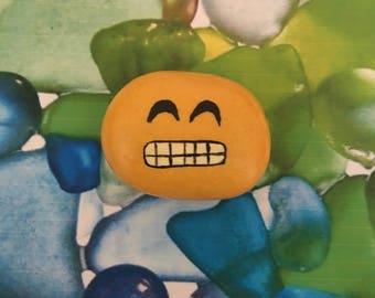 Grin Emoji Handpainted Rock Refrigerator Magnet / Garden Accent