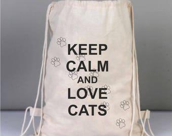 Drawstring Cotton Backpack, Daily Cotton Bag, Canvas Bag, Natural Bag, Party Bag, Tote Bag, Keep Calm and Love Cats, Cat Paw Bag