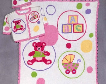 ArtWalk Baby Bubbles Blanket Set with Sweater Size 6 Months (Hat Sold Out)