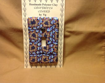 Brown sky polymer clay light switch plate