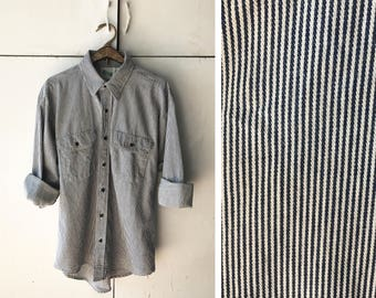 70s LARGE mens button down shirt | vintage striped button down | 70s mens clothing