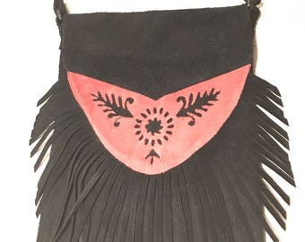 Floral Fox Suede Leather Fringed Pouch