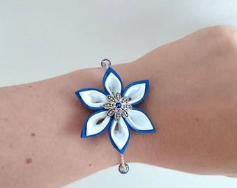 Royal Blue and white kanzashi flower chain bracelet.