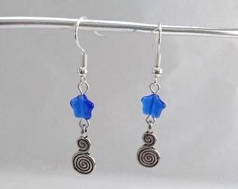 Earrings swirls and Blue Star bead