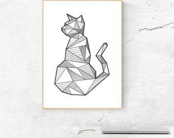 Cat Wall Decor, Geometric Cat Print, Cat Poster, Minimalist Cat Print, Printable Animal, Nursery Decor, Animal Decor, Gift to Her