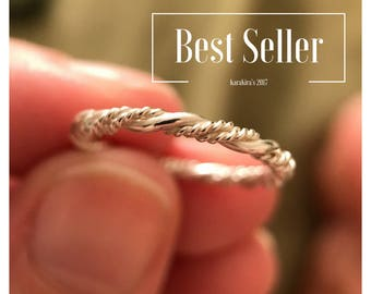 Sterling Silver Twisted Ring, Triple Twist Ring, Stacking Ring, Wedding Band, Thin Band, Rope Ring, Vine Ring, 925 Sterling Silver
