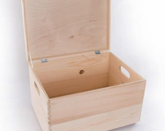Large Wooden Storage Box / Plain Wood / Box with Lid / Crate Trunk Containers 40 x 30 x 24 cm  15.74 x 11.81 x 9.44 in