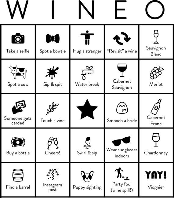 Wine tasting bridal shower printable bingo card