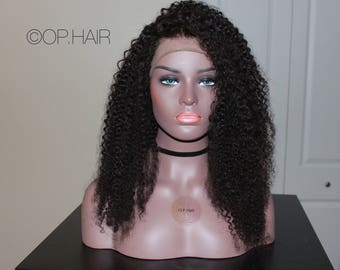 "Lace frontal 22"" Kinky Curly wig 9A hair grade"