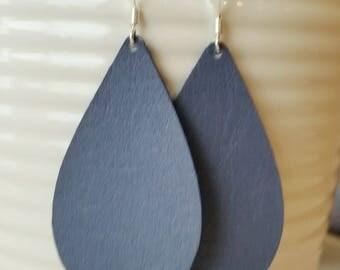 Navy Blue Leather Earrings/ Teardrop