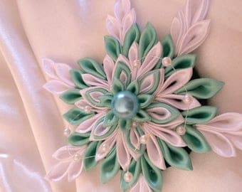 Has green and white satin ribbon kanzashi flower - you choose the backing: hair clip, brooch, comb or headband