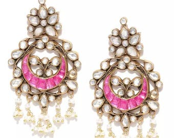 Gold Plated-Pink Kundan Drop Earring