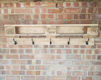 Original Hand Made Reclaimed Custom Pallet Wood Coat Rack, Wall Hanging, Rustic, Shabby Chic